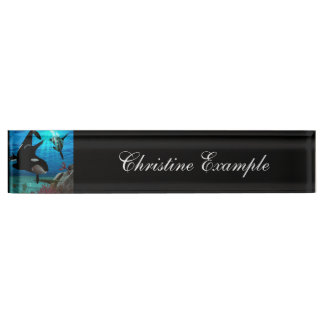 Funny orcas nameplate
