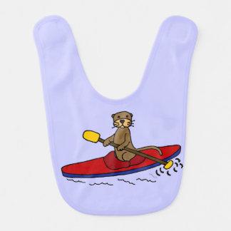 Funny Otter Kayaking Cartoon Bib