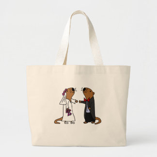 Funny Otter Wedding Cartoon Large Tote Bag