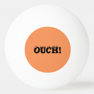 """Funny """"ouch!"""" Orange and Yellow Ping Pong Ball"""