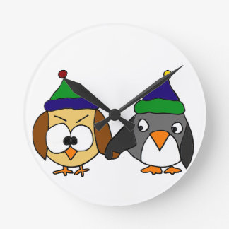 Funny Owl and Penguin Holding Hands Wall Clock