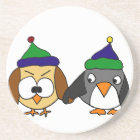 Funny Owl and Penguin Holding Hands Coaster