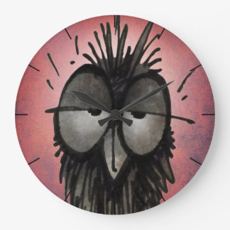 Funny Owl Art on Pink Wall Clocks