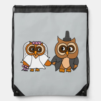 Funny Owl Bride and Groom Wedding Backpack