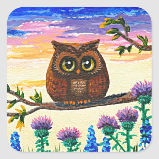 Funny Owl Cartoon Creationarts Square Sticker