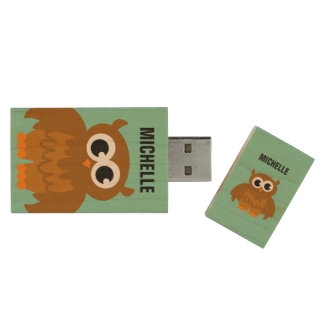 Funny owl cartoon USB pendrive flash drive Wood USB 2.0 Flash Drive