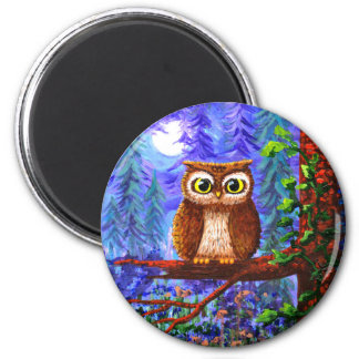 Funny Owl Forest Moon Whimsical Creationarts 2 Inch Round Magnet