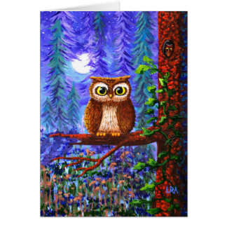 Funny Owl Forest Moon Whimsical Creationarts Card