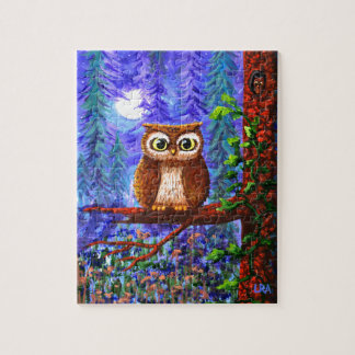Funny Owl Forest Moon Whimsical Creationarts Jigsaw Puzzle