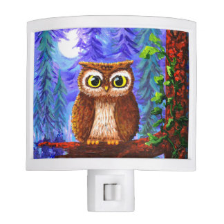 Funny Owl Forest Moon Whimsical Creationarts Nite Light