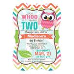 "Funny Owl on Cute Chevron Pattern Birthday Party 5"" X 7"" Invitation Card"