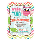 Funny Owl on Cute Chevron Pattern Birthday Party Invitation