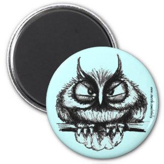Funny owl pen ink drawing art magnet design
