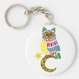 Funny owl Sitting on Moon Art Basic Round Button Keychain