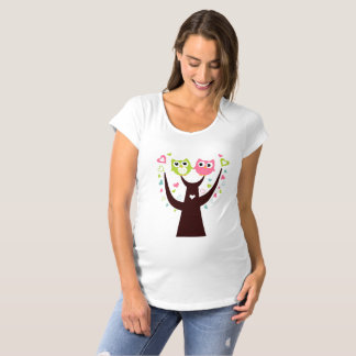 Funny Owl Twins on Tree Branch Maternity T-Shirt