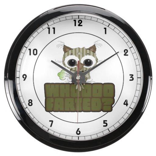 Funny Owl  Whooo Hoot Farted Aqua Clock