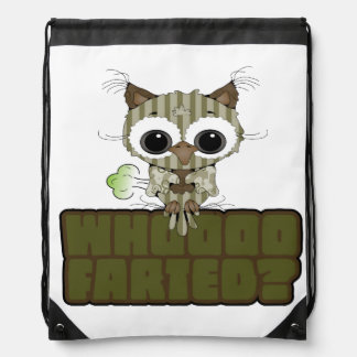 Funny Owl Whooo Hoot Farted Drawstring Backpack
