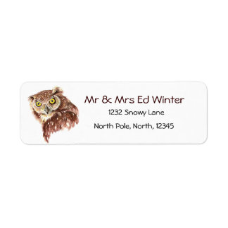 Funny Owl with Attitude, Bird, Nature, Wildlife Return Address Label