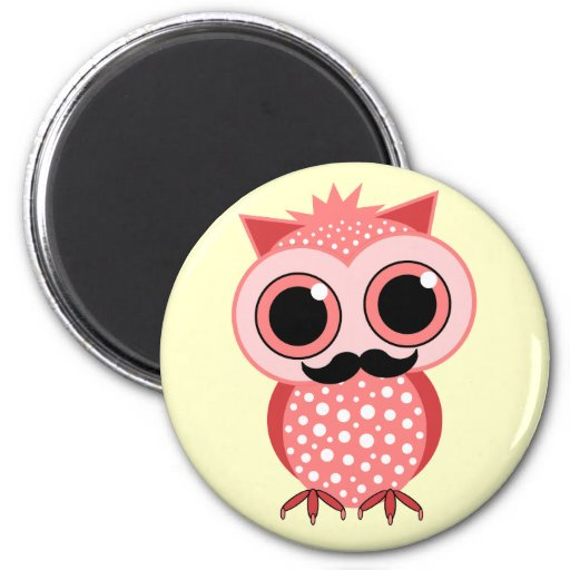 funny owl with mustache refrigerator magnet