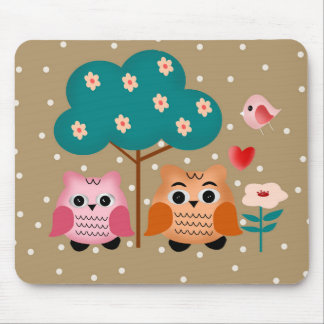 funny owls mouse pad