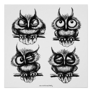 Funny owls pen ink drawing art poster