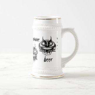 Funny owls pen ink drawing beer mug design