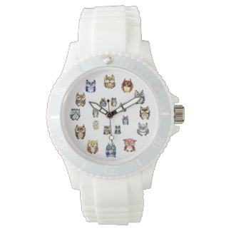 Funny owls rainbow watercolor watch