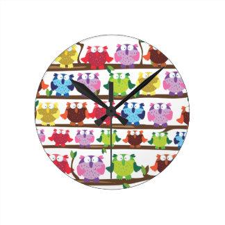Funny Owls sitting on a brach pattern Clocks