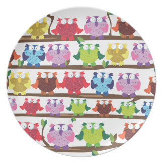 Funny Owls sitting on a brach pattern Plate
