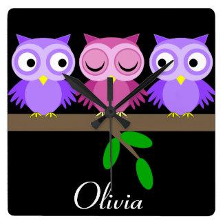 funny owls wallclock