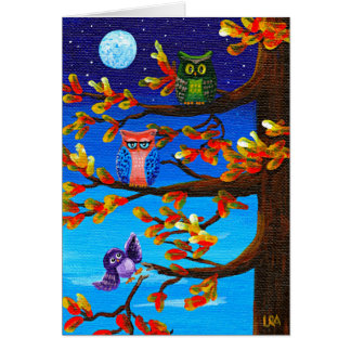 Funny Owls Whimsical Forest Art Creationarts Card