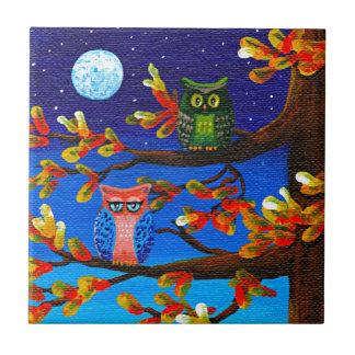 Funny Owls Whimsical Forest Art Creationarts Ceramic Tile