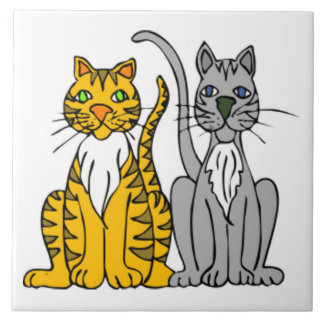 Funny Pair of Cartoon Tabby and Gray Alley Cats Tiles