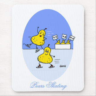 Funny Pairs Skating Cartoon Pears Ice Skaters Mouse Pad