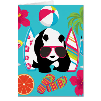 Funny Panda Bear Beach Bum Cool Sunglasses Surfing Greeting Card