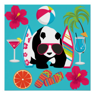 Funny Panda Bear Beach Bum Cool Sunglasses Surfing Print