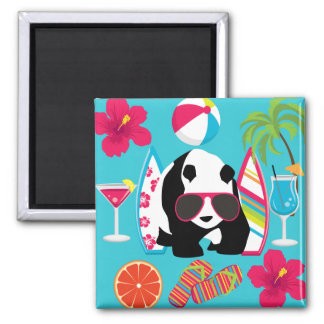 Funny Panda Bear Beach Bum Cool Sunglasses Surfing Square Magnet