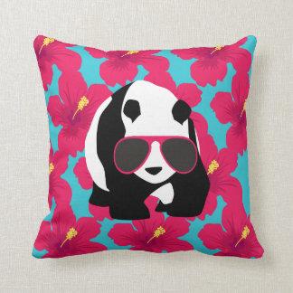 Funny Panda Bear Beach Bum Cool Sunglasses Tropics Throw Pillow