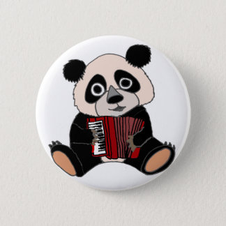 Funny Panda Bear Playing Accordion 2 Inch Round Button