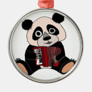 Funny Panda Bear Playing Accordion Silver-Colored Round Ornament