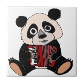 Funny Panda Bear Playing Accordion Tiles