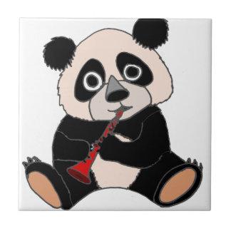 Funny Panda Bear Plying Red Clarinet Ceramic Tiles