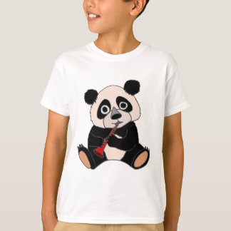 Funny Panda Bear Plying Red Clarinet T-Shirt
