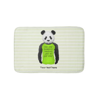 Funny Panda Wearing a Green Tshirt Bath Mat