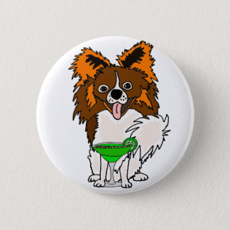 Funny Papillon Dog Drinking Margarita Cartoon 2 Inch Round Button