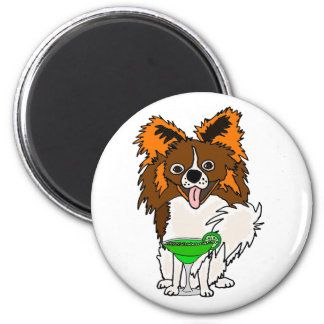 Funny Papillon Dog Drinking Margarita Cartoon 2 Inch Round Magnet