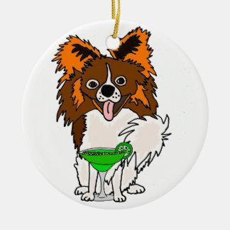 Funny Papillon Dog Drinking Margarita Cartoon Ceramic Ornament