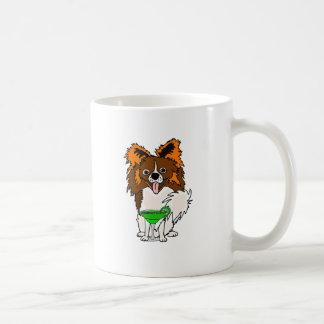Funny Papillon Dog Drinking Margarita Cartoon Coffee Mug
