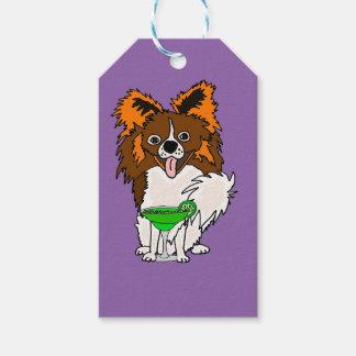 Funny Papillon Dog Drinking Margarita Cartoon Gift Tags