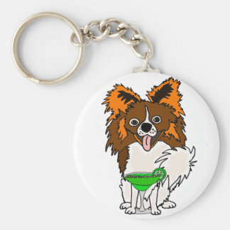 Funny Papillon Dog Drinking Margarita Cartoon Keychain